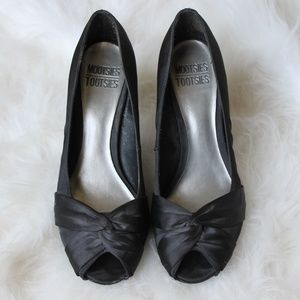 Black Satin Twist Pumps